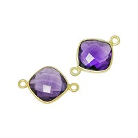 Faceted Connector Link Gold 12mm Square - Amethyst