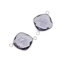 Faceted Connector Link Silver 16mm Square - Light Amethyst