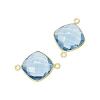 Faceted Connector Link Gold 16mm Square - Blue Topaz