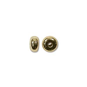 Round Disc Metal Bead 4.5x2.4 Plain - Gold