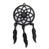 Pewter Dreamcatcher Pendant - Patina Green