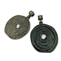 Large Pewter Spiral Pendant - Patina Green