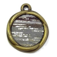 Round Disc Pendant Silver Grey Shades - Antique Brass