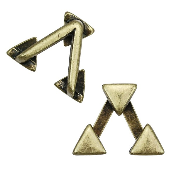 10mm TRIPLE TRIANGLES Flat Leather Cord Slider ANTIQUE BRASS