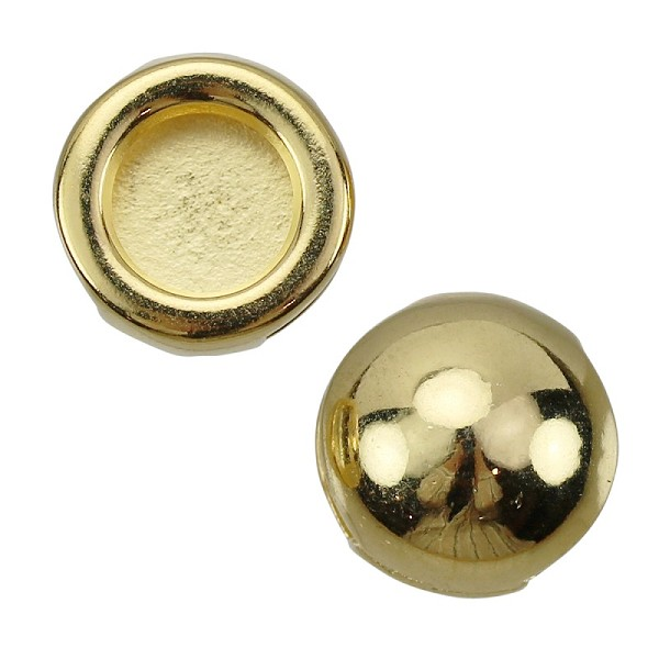 10mm DOME Flat Leather Cord Slider SHINY GOLD