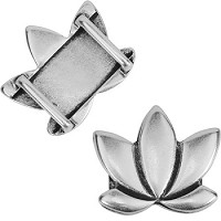 10mm Flat LOTUS FLOWER Leather Cord Slider - Antique Silver