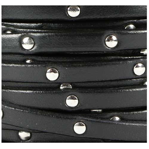 Studded 5mm Flat Leather Cord - Black
