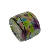 T-Beads Glass Slider Oval Large Hole 10mm - Spring