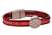 Irish Red Flat Leather Cord Bracelet