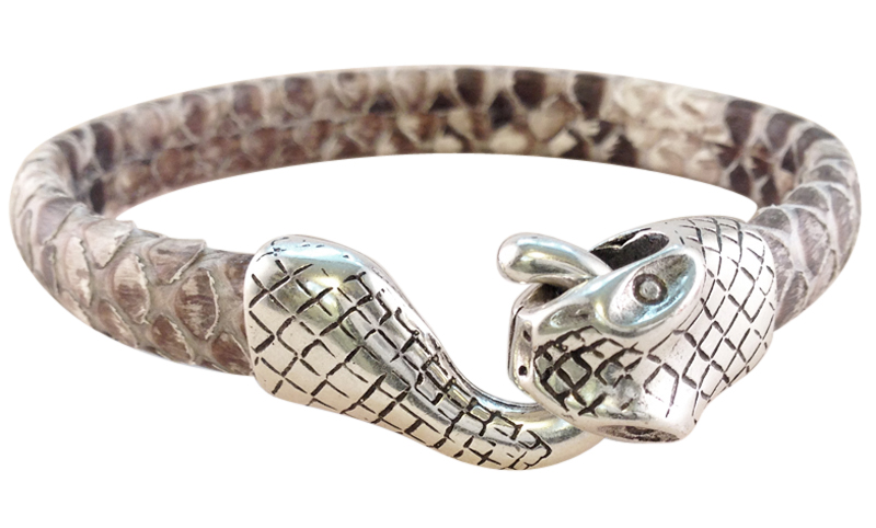 Silver Snake Genuine Snakeskin Leather Bracelet