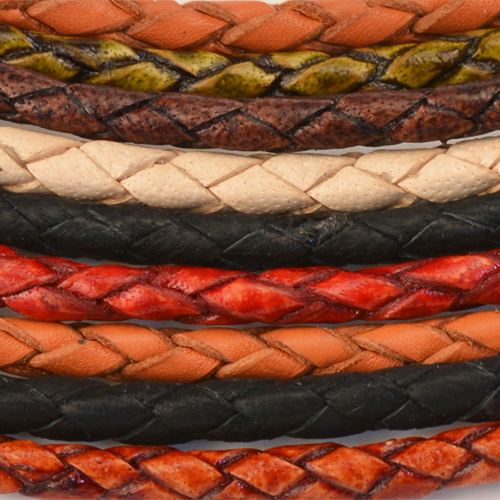 3mm Round Euro Braided Leather