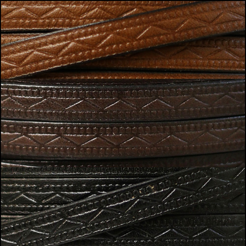 Roman Embossed 8mm Flat Leather Cord