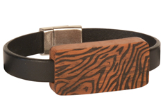 African Safari Lillypilly Wood Slider Flat Leather Bracelet