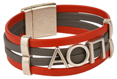 ALPHA OMICRON PI Flat Leather Cuff Bracelet