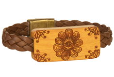 Botanical Garden Lillypilly Wood Slider Flat Leather Bracelet