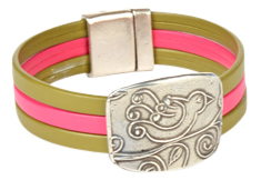Bird In Hand Mexican Cuff Leather Bracelet