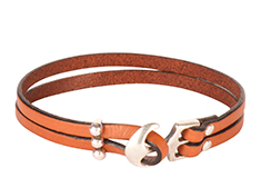 Bolted Anchor Flat Leather Bracelet
