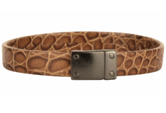Caiman Croc Amazon Flat Leather Bracelet