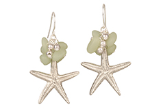 Caribbean Sea Star Cultured Sea Glass Earrings
