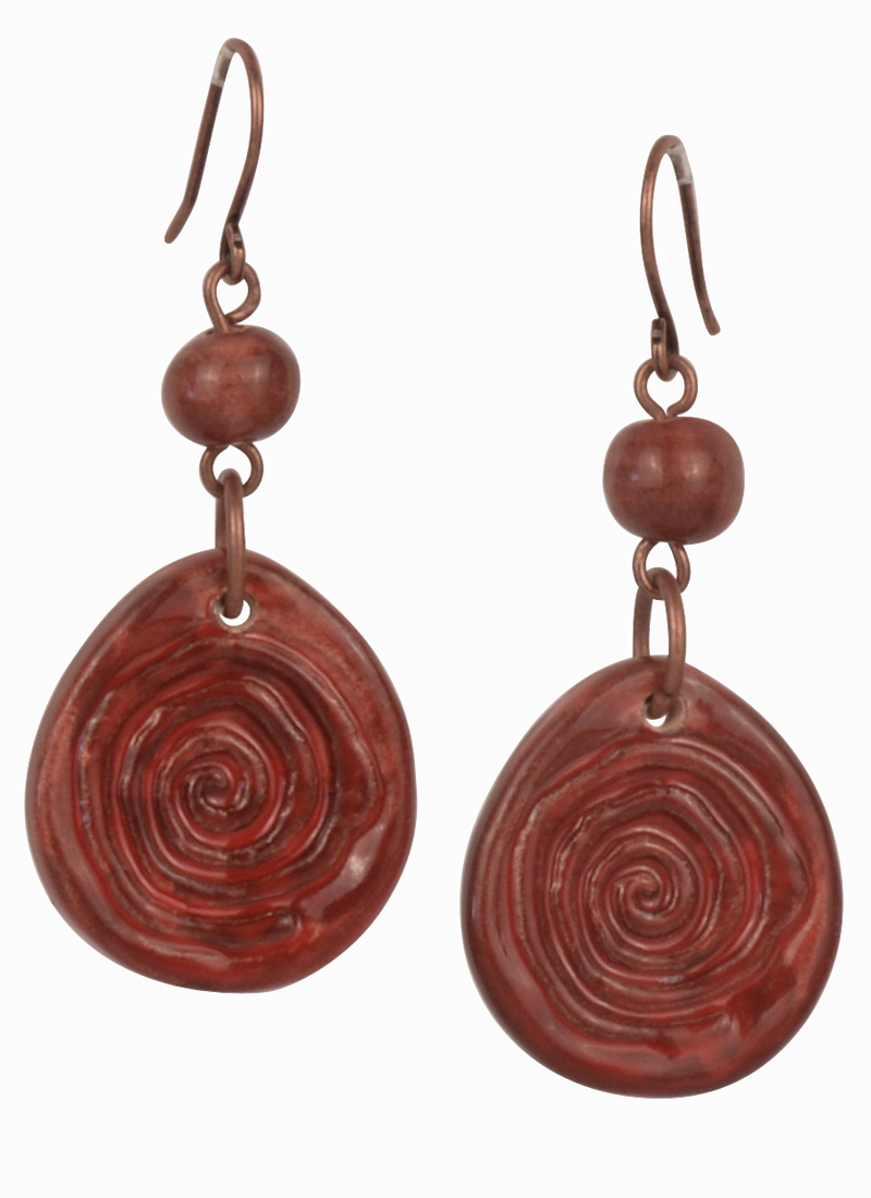 Cherry Swirl Claycult Ceramic Earrings