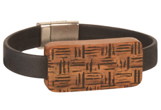 Cotswold Cottage Lillypilly Wood Slider Flat Leather Bracelet