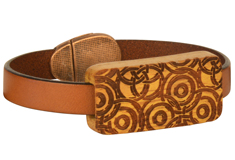 Crop Circles Lillypilly Wood Slider Flat Leather Bracelet