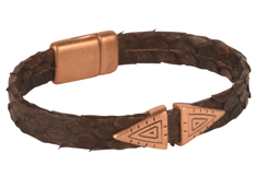 Copperhead Mens Leather Bracelet