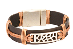 Cutout Coil Flat Leather Bracelet