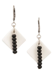 Double Black Diamond Cultured Sea Glass Earrings