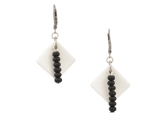 Double Black Diamond Sea Glass Earrings