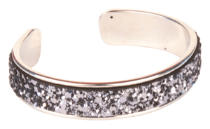 Dusty Silver Blingy Glue-In Cuff Bracelet