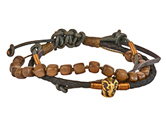 Elephant Walk Mens Leather Wrap Bracelet