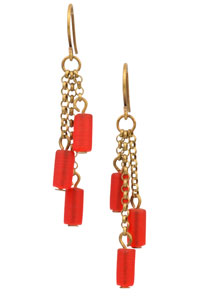 Fire Cracker Cultured Sea Glass Earring