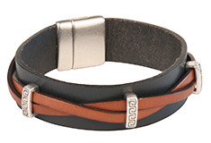 Greek Tryst Mens Flat Leather Bracelet