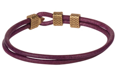 Purple Waves Round Leather Bracelet