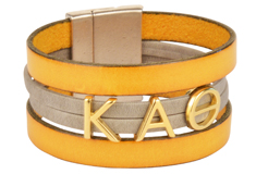 KAPPA ALPHA THETA Flat Leather Cuff Bracelet