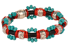 Kachina Dancer Macrame Waxed Cord & Leather Bracelet