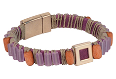 Love Lavender Waxed Cord Wrapped Round Leather Bracelet