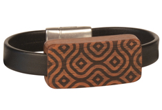 Moroccan Bazaar Lillypilly Wood Slider Flat Leather Bracelet
