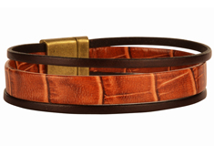 Nile Course Flat Leather Bracelet