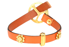 Orange Burst Leather Bracelet