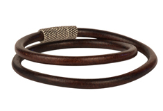Rugged Tobacco Euro Leather Bracelet