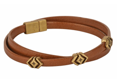 Rhombus Wrap Mens Leather Bracelet