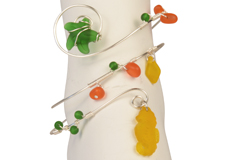 Seaside Fiesta Sea Glass Beads Arm Cuff