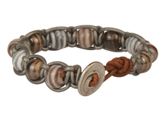 Silver Stripes Claycult Knotted Leather Bracelet