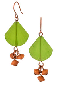 Seashell Dangles Cultured Sea Glass Earrings