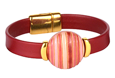 Simple Passion Stripes Golem & Flat Leather Bracelet