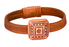 Tribal Square Golem & Flat Leather Bracelet