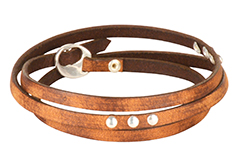 Triple Rivet Old World Flat Leather Bracelet