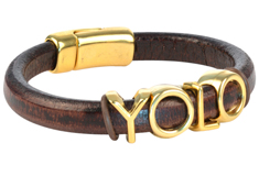 You Only Live Once Regaliz Leather Bracelet